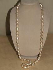 Joan Rivers Chunky Faux Baroque Pearl Necklace Goldtone Rhinestone Egg Clasp 40""