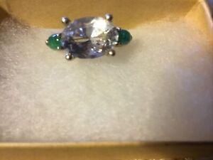 Quartz And Emerald 3 Stone Cocktail Ring