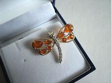 Buriti OPALE DI FUOCO & Zircone 9K Oro Giallo Dragon Fly pendente, rara bellezza, nuova con etichetta