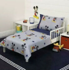 Mickey Mouse 90th Anniversary Bedding 4 Pc. Set Navy Gray Fits Crib Toddler Bed