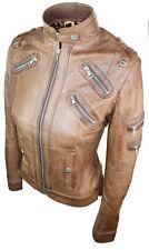 Ladies Womens Real Genuine Leather Tan Zip Biker Slim Fit Jacket XL PROMO!!!