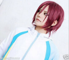 Rin Matsuoka Straight Short Dark Red Cosplay Anime Wig H-25