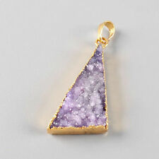 20x33mm Triangle Purple Agate Crystal Druzy Geode Pendant Bead Gold Plated NEW