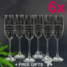 6x Personalised Favours Bride & Bridesmaid Champagne Glasses Bridal Party Flutes