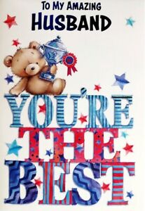 """Cute Bear Holding Trophy """"HUSBAND YOU'RE THE BEST"""" Birthday Card"""