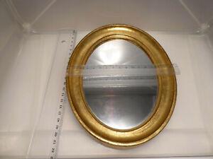 60er Jahre ovaler Bilderrahmen Holz vergoldet mit Spiegel 22 x 16,8 cm 193 g