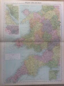 Vintage Antique 1939 Philips Map 20x15 England West & Wales Liverpool Bristol