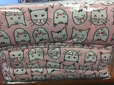 NEW! Cuddl Duds QUEEN SIZE Pink White Heavy Flannel Kitty Cat Sheet Sheets Set