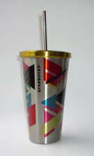 Starbucks Coffee Stainless Steel Double Wall Travel Mug Straw 16 fl oz 2014 NEW