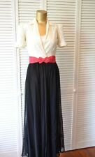 VINTAGE 40's Elegant Gown Of Brussels Lace Sweeping Chiffon Skirt XS