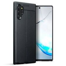 Samsung Galaxy Note 10 Plus TPU Gel Silicone Rubber Case Leather Texture Black
