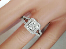 1.36Ct Genuine Diamond Engagement Ring In Solid 14K Whit Gold. Princess Cut, VS