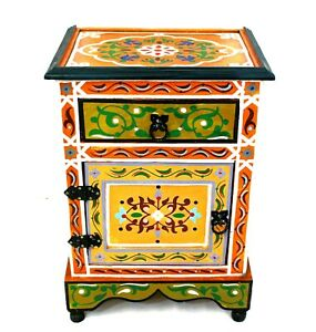 Moroccan Nightstand Table Orange Painted Handmade Authentic Side Accent Piece