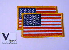 US USA American Flag Patch GOLD Border **LOT of 2**