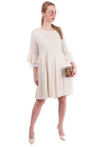 SUERTE Knitted Flared Dress Size M Lined Gathered Tulle Insert Made in Italy
