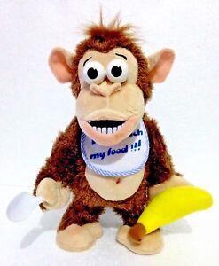 """CRAZY BROWN MONKEY INTERACTIVE TOY """" Don't touch my Food"""" Funny Plush Chimpanzee"""