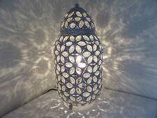 Chrome Lampada da tavolo mozzafiato stile marocchino Jeweled Cutwork Fiore Nuovissimo