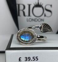 Labradorite 925 Ring Sterling Silver Gemstone Leaf Adjustable Gift for Her Boxed