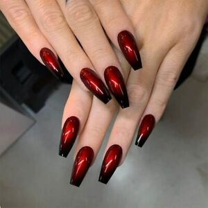 Fake Nails Gothic Black Red Gradient Ballet Press On Nails French Full Nail Tips