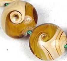 Lampwork Handmade Gold Yellow Swirls Lentil Beads 16mm
