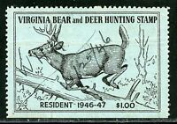 UNITED STATES VIRGINA BEAR AND DEER HUNTING STAMPS $100 USED
