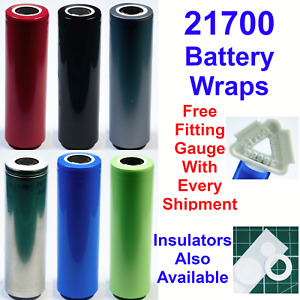 10 X 21700 Battery Wraps - Heat Shrink PVC Sleeves - 6 Colours To Choose From