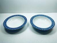 Oneida Blue Heather Bowls SET of 2 Rim Cereal Soup Porcelain Vintage Shabby Chic