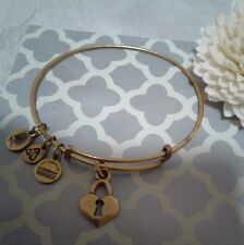 Alex and & Ani Key To My Heart Lock Gold Bangle Bracelet