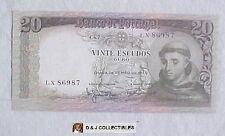 PORTUGAL 20 ESCUDOS 1964 NOTE UNC CONDITION