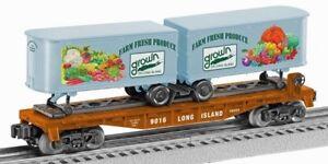 2016 RMLI Lionel 6-58555 Long island Farm Bureau flat car with 2 trailers new