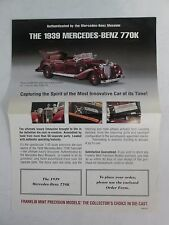 Franklin Mint Brochure 1939 Mercedes Benz 770K