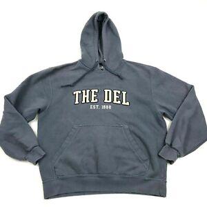 VINTAGE The Del Hoodie Sweater Size Medium Blue Hooded Pullover Long Sleeve Mens