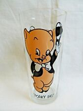 1973 Pepsi  Warner Bros Porky Pig Glass Black Lettering