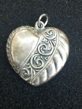 Vintage Sterling Silver REPOUSSE Large PUFFY HEART  Charm Pendant