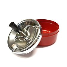 SPINNING PUSH SMOKELESS METAL ASHTRAY INDOOR OUTDOOR ASH TRAY SMOKING SMOKE FREE