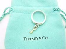 Tiffany & Co. Sterling Silver 18k Gold Key Dangle Ring Size 6