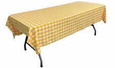 "LA Linen Rectangular Checkered Tablecloth 60"" x 108"", Dark Yellow and White"