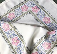 Vintage Hand Embroidered Cream Linen Tablecloth 48X49 Inches