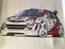 More details for colin mcrae , nicky grist, ford focus 1999 wrc caricature by k.w davies.