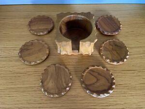 Set Of 6 Vintage Solid Wood Wooden Coasters In Holder 1970's