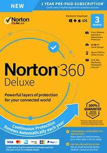 Norton 360 Deluxe 2020 3 Devices 3 PC 1 Year + Secure VPN Internet Security 2021