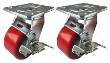 2 Caster 4 5 6 8 Polyurethane On Cast Iron Rigid Swivel Total Lock Brake