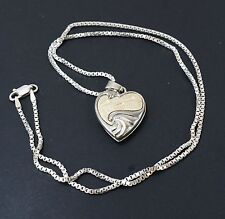LENNOX Golden Sterling Silver Foot Prints In The Sand Poem Locket Necklace 20""