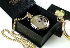 ROYAL GREEN JACKETS 24k Gold Clad POCKET WATCH & CHAIN  Luxury Gift Case Army