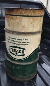 Vintage Texaco Marfak Metal Grease Oil Barrel Drum Trash Can Garage Man Cave