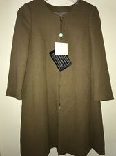 New NWT L'autre Chose Wool Full Zip Coat Jacket Size 42 (small 4/6) Olive Green
