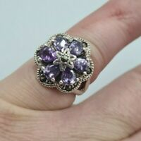 Beautiful Vintage Art Deco Style  Solid Silver Amethyst & Marcasite Ring Size N
