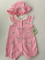 Little Me Baby Girls Romper Hat Outfit Set Size 3 6 9 Months Pink Whale Layette