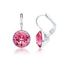 MYJS Bella Mini Drop Earrings with Rose Swarovski Crystal Rhodium Plated