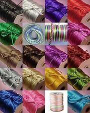 LOT 10 spools 2mm Nylon SATIN CORD x 50 feet = 500 ft ~ Random Mix of Colors